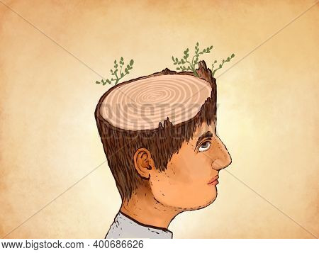 Illustration Of A Head With A Cut From A Tree, With Grass Sprouts. Metaphor Theories Problems, Issue