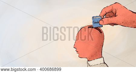 Illustration Of A Head As A Piggy Bank Of Knowledge For Success In Life. The Analogy Of Education, S