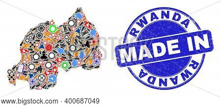 Technical Rwanda Map Mosaic And Made In Distress Rubber Stamp. Rwanda Map Composition Formed With Wr