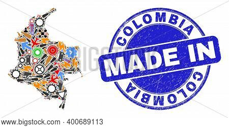 Component Mosaic Colombia Map And Made In Distress Stamp. Colombia Map Mosaic Formed From Spanners,