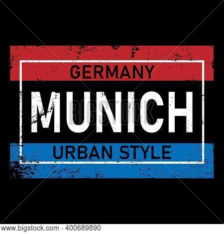 Vector Illustration Munich, Germany, Stylish Graphics Design For T-shirts, Vintage Design, T-shirt G