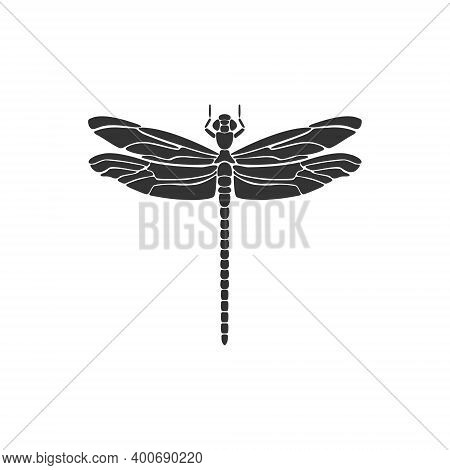 Dragonfly Icon. Black Dragonfly Sign. Flat Design. Silhouette Icon. Vector Illustration