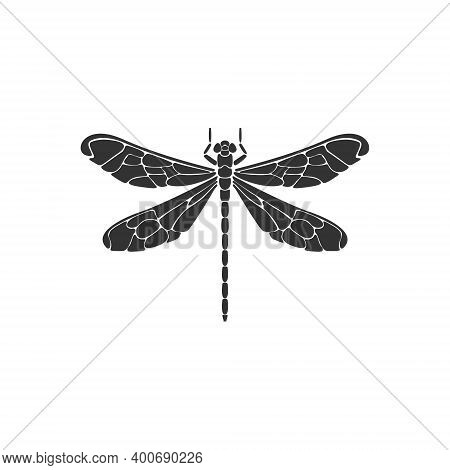 Dragonfly Icon. Black Dragonfly Sign On White Background. Flat Design. Silhouette Icon. Vector Illus