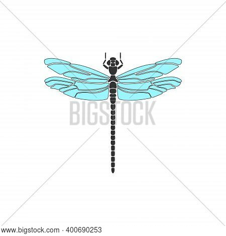Dragonfly. Black Dragonfly With Blue Wings On White Background. Flat Design. Silhouette Icon. Vector