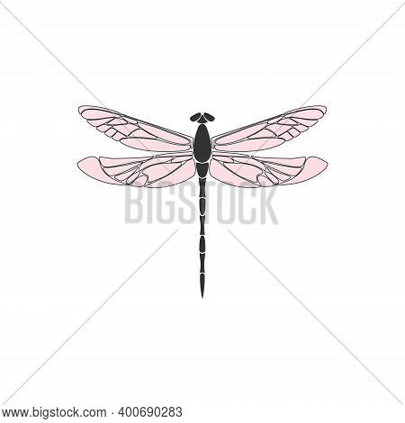 Dragonfly. Black Dragonfly With Pink Wings On White Background. Flat Design. Silhouette Icon. Vector