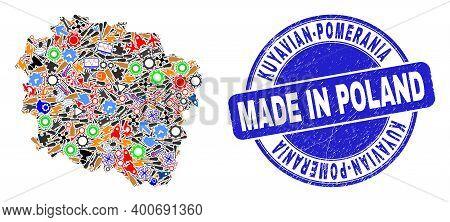 Service Mosaic Kuyavian-pomeranian Voivodeship Map And Made In Textured Rubber Stamp. Kuyavian-pomer