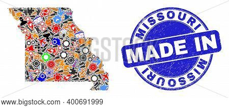 Component Mosaic Missouri State Map And Made In Distress Rubber Stamp. Missouri State Map Compositio