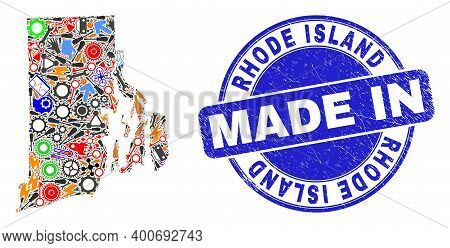 Production Mosaic Rhode Island State Map And Made In Textured Rubber Stamp. Rhode Island State Map M