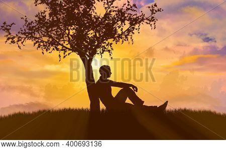 Silhouette Of Man Leaning Against A Tree During Sunset, 3d Render.