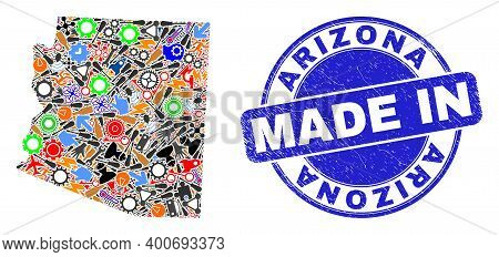 Component Mosaic Arizona State Map And Made In Textured Rubber Stamp. Arizona State Map Abstraction