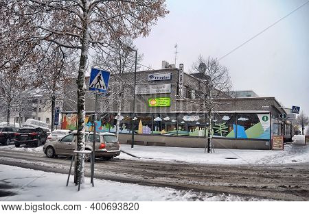 Finland, Imatra, 08,11,2014 Street In The Center Of Imatra. City In South Karelia With Population Is