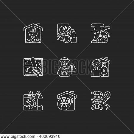Home Accidents Prevention Chalk White Icons Set On Black Background. Water Damage. Electric Shock. H