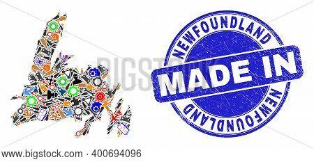Service Newfoundland Island Map Mosaic And Made In Scratched Stamp Seal. Newfoundland Island Map Abs
