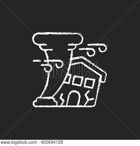 Hurricane Chalk White Icon On Black Background. Destroying Residential Structures. Catastrophic Prop