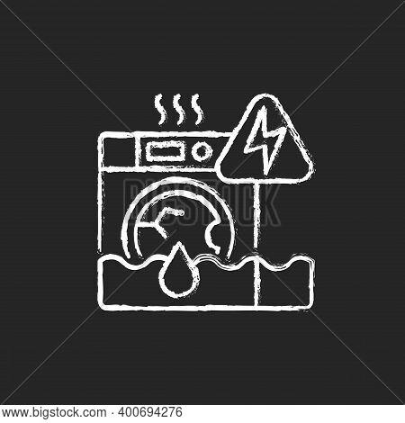 Household Appliances Malfunction Chalk White Icon On Black Background. Washing Machine, Dishwasher.