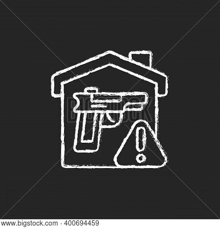 Weapons Storage Chalk White Icon On Black Background. Home Defense. Safe Gun Storage. Preventing Una