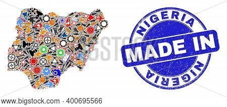 Production Mosaic Nigeria Map And Made In Textured Stamp. Nigeria Map Mosaic Created From Wrenches,