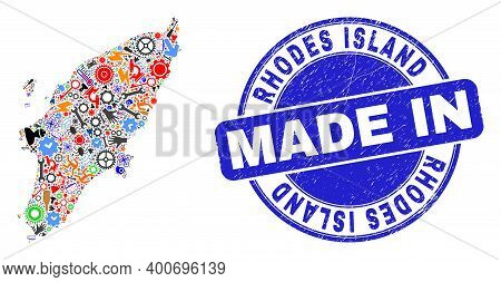 Engineering Mosaic Rhodes Island Map And Made In Scratched Seal. Rhodes Island Map Mosaic Created Wi