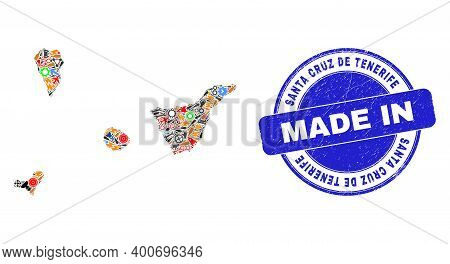 Development Santa Cruz De Tenerife Province Map Mosaic And Made In Grunge Stamp Seal. Santa Cruz De
