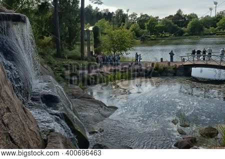 Finland, Kotka 17,08,2019 Sapokka Park In The City Of Kotka In Finland. Waterfall With A Cliff On Th