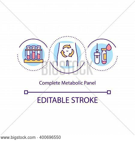 Complete Metabolic Panel Concept Icon. Group Of Tests That Measures Several Different Substances In