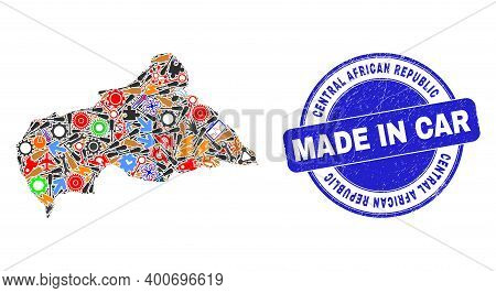 Component Mosaic Central African Republic Map And Made In Grunge Rubber Stamp. Central African Repub