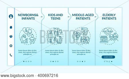 Health Screening Age Groups Onboarding Vector Template. Newborns, Teens, Middle Aged Patients. Respo