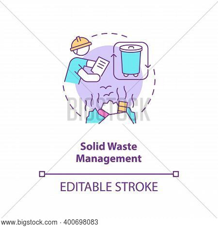 Solid Waste Management Concept Icon. Recycling Garbage. Environmental Regulation. Civil Engineering