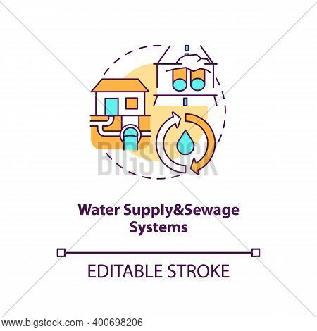 Water Supply And Sewage Systems Concept Icon. Sewer Pipeline. Waste Management. Civil Engineering Id