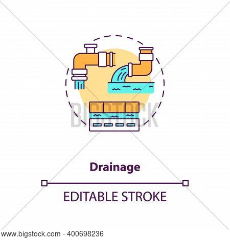Drainage Concept Icon. Sewage Utility System. Sewer Pipeline. Water Waste Management. Civil Engineer