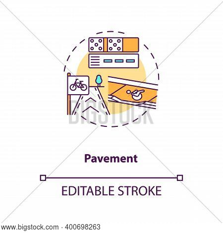 Pavement Concept Icon. Footpath Construction. Asphalt Layers. Building Footway. Civil Engineering Id