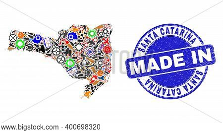 Component Santa Catarina State Map Mosaic And Made In Scratched Rubber Stamp. Santa Catarina State M