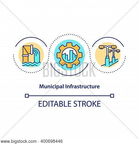 Municipal Infrastructure Concept Icon. Water And Electric Systems Idea Thin Line Illustration. State