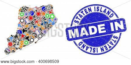Component Staten Island Map Mosaic And Made In Textured Rubber Stamp. Staten Island Map Mosaic Creat