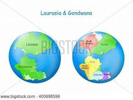 Globe With Laurasia And Gondwana, Continental Borders, And Ocean Tethys. Gondwana And Laurasia Forme