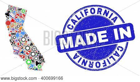 Engineering Mosaic California State Map And Made In Grunge Stamp. California State Map Collage Forme