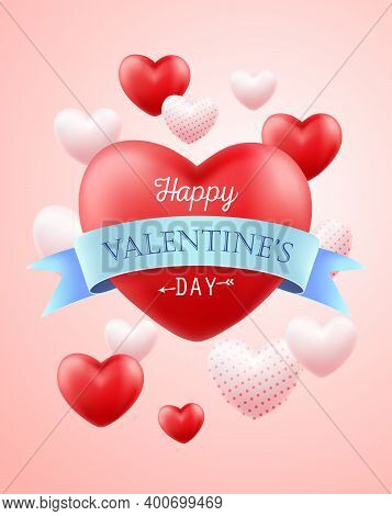 Happy Valentines Day. Holiday Banner, Flyer, Poster, Greeting Card, Cover With Many Flying Sweet Hea