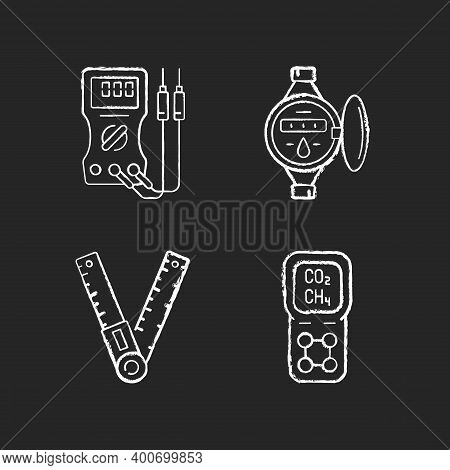 Measurement Tools Chalk White Icons Set On Black Background. Ammeter. Water Meter. Angle Finder. Gas