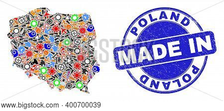 Component Poland Map Mosaic And Made In Textured Rubber Stamp. Poland Map Collage Composed From Span