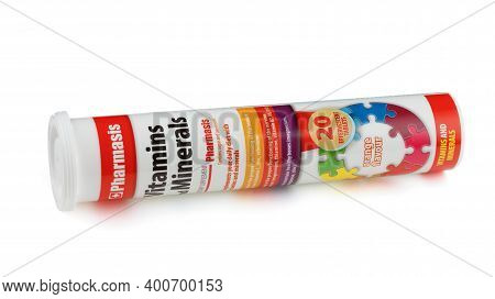 Lviv, Ukraine - December 11, 2020: Vitamins And Minerals In Soluble Tablets On A White Background