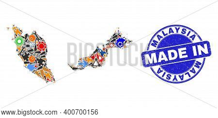 Development Mosaic Malaysia Map And Made In Grunge Stamp Seal. Malaysia Map Mosaic Designed With Wre