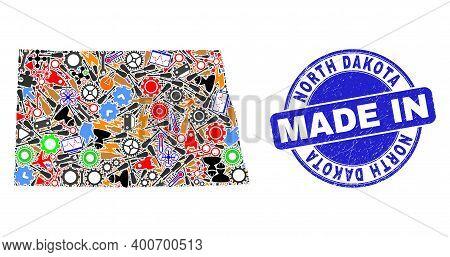 Technical North Dakota State Map Mosaic And Made In Grunge Stamp Seal. North Dakota State Map Compos