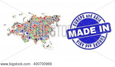 Service Europe And Asia Map Mosaic And Made In Textured Rubber Stamp. Europe And Asia Map Mosaic Des