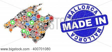 Service Mallorca Map Mosaic And Made In Grunge Stamp. Mallorca Map Composition Created With Wrenches