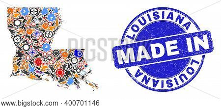 Production Mosaic Louisiana State Map And Made In Distress Watermark. Louisiana State Map Mosaic Com