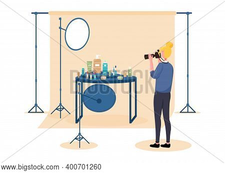 Female Photographer On Set Doing Commercial Photography. Concept Of Professional Commercial Shoot Wi