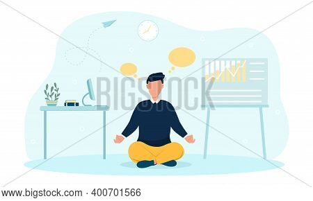 Businessman Meditating And Concentrating In Office At Work. Concept Of Keeping Yourself Sane And Con