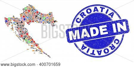 Production Mosaic Croatia Map And Made In Distress Rubber Stamp. Croatia Map Mosaic Composed From Sp