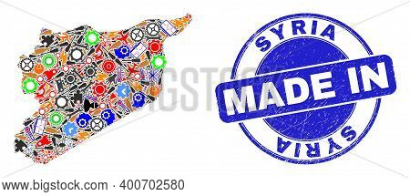 Engineering Mosaic Syria Map And Made In Scratched Rubber Stamp. Syria Map Mosaic Designed With Wren