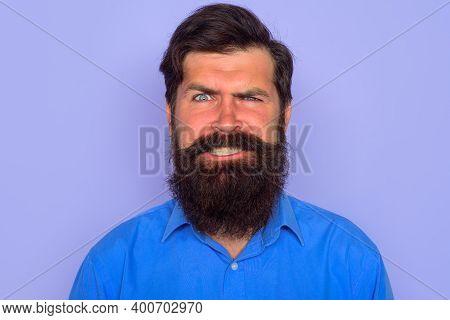 Smiling Man. Bearded Man Portrait. Happy Smiling Bearded Man. Smile. Portrait Of Smiling Bearded Man
